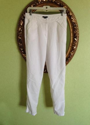 Льняные брюки зауженные  высокая посадка- h&m