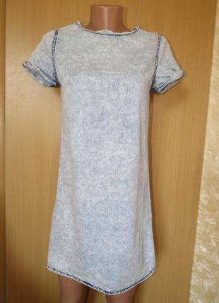 Короткое легкое белое голубое джинсовое платье