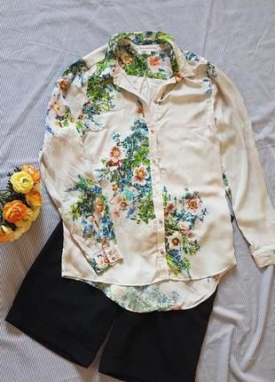 Рубашка блуза удлиненная прямая принт цветы