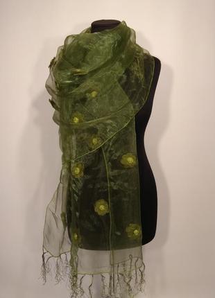 Вечерний праздничный прозрачный оливковый шарф палантин из органов с цветами
