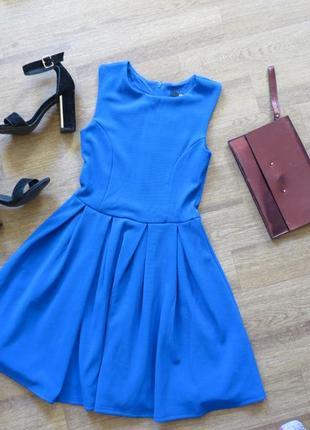 Синее короткое коктейльное платье солнце в рубчик