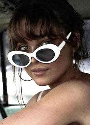 Качественные белые очки имиджевые большие ретро винтаж сонцезахисні окуляри