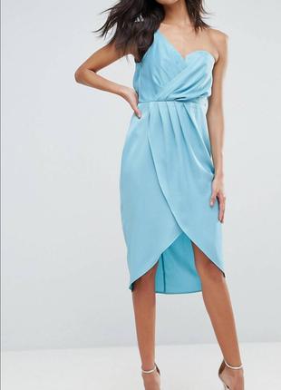 Нежное сатиновое платье миди на запах, на одно плечо asos asos