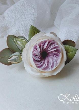 Заколка для волосся з трояндою та евкаліптом