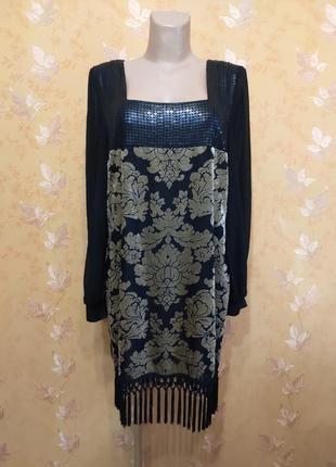 Вечернее платье с паетками бархатным принтом