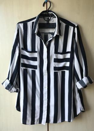 Очень стильная рубашка полоска штапель oversize