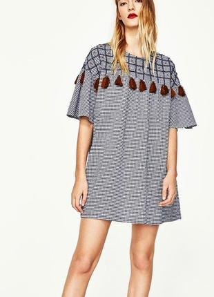 Крутое клетчатое платье в стиле бохо zara
