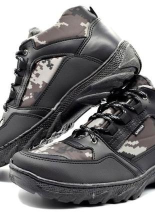 Ботинки зимние мужские в камуфляжной расцветке (хб-05)
