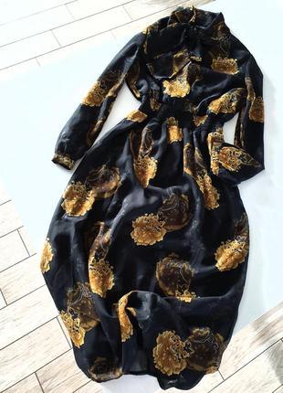 Шифоновое платье  в цветочный принт / длинное платье f&f в цветы