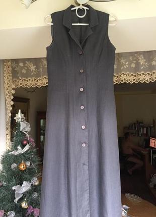 Суперское качественное льняное итальянское длинное платье темно-серого цвета
