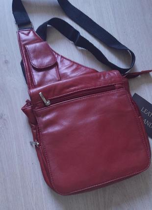 Мужская кожаная сумка барсетка компактная красная через плечо