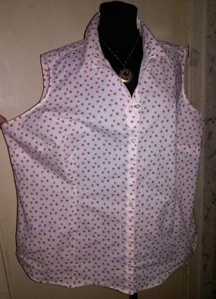 Чудесная,стрейч-хлопок,женственная блузка-безрукавка на пуговицах,большого размера