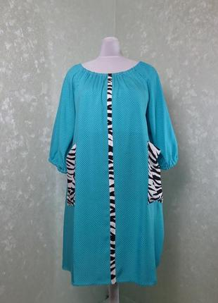 Легкое оригинальное платье, туника plus size, большой размер, батал