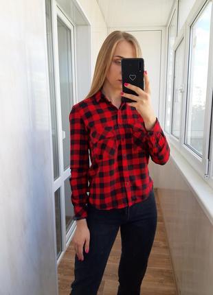 Красная рубашка в клетку bershka