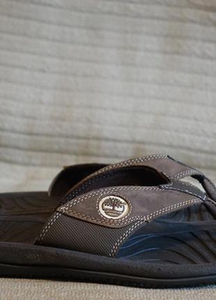 Легенькие комбинированные фирменные темно-коричневые шлепанцы timberland 10 m. ( 28,2 см.)