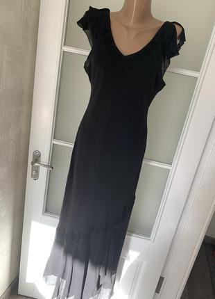 Платье чёрное макси натуральный шёлк