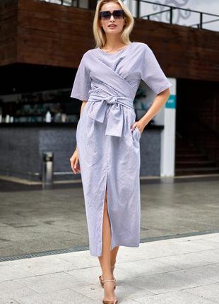Длинное летнее штапельное платье миди в черно-белую тонкую полоску (3967 jdnn)