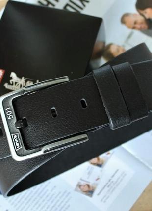 Мужской кожаный ремень levis для джинс + подарочная коробка
