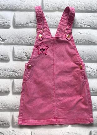 Next  стильный джинсовый  сарафан на девочку  3-4 года