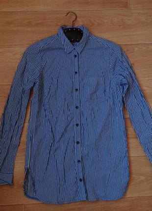 Снизила цену topshop рубашка в синюю полоску 12- размера
