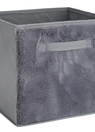 Коробка для хранения серая плюшевая