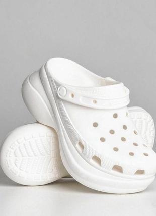 Crocs classic bae clog white белые кроксы сабо женские на платформе