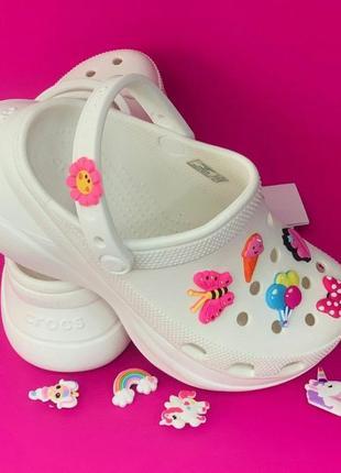 Crocs classic bae clog white белые кроксы сабо женские на платформе3 фото