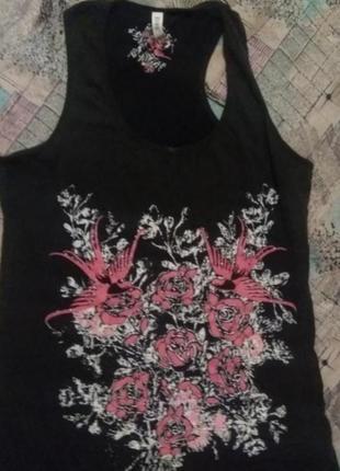 Майка туника футболка принт цветы розы denim co