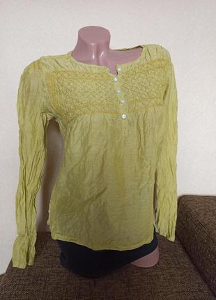 Рубашка day коттон и шелк индия, рубашка горчичная индия, блуза day с длинными рукавами