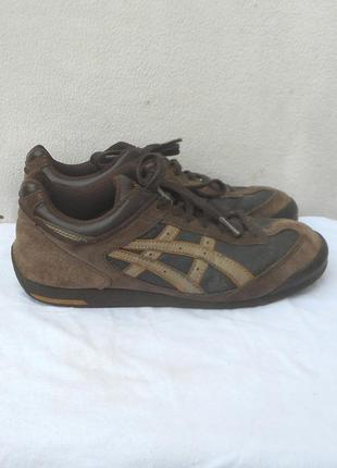 Замшевые кожаные спортивные кроссовки  asics