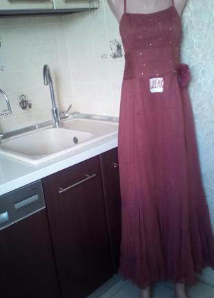 #cоast#винтажное шелковое платье в пол 100% шелк #