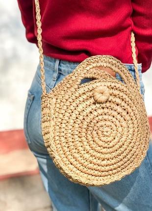 Акция! стильная соломенная круглая сумка