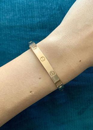 Женский металлический плоский браслет без камней красное розовое золото