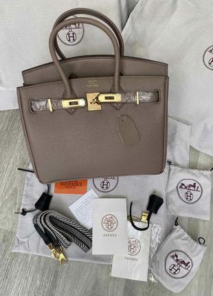 Кожаная сумка шоппер бежевая