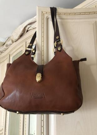 Добротная роскошная кожаная сумка, натуральная рыжая кожа, италия valentina