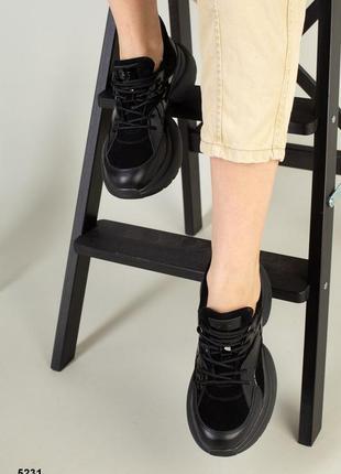 Чёрные кожаные кроссовки натуральная кожа
