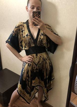 Нарядное яркое шёлковое платье 100% шёлк