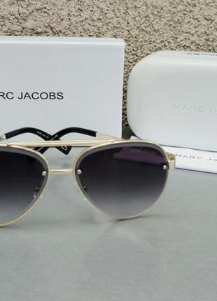 Marc jacobs очки женские солнцезащитные темно серые с градиентом в золотой оправе