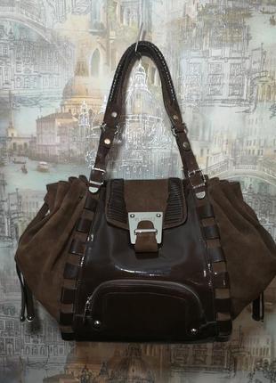 Versace  оригинал бренд люкс большая кожаная сумка италия с документами