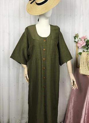 Винтажное льняное платье миди хаки бохо лен вискоза harry's club винтаж