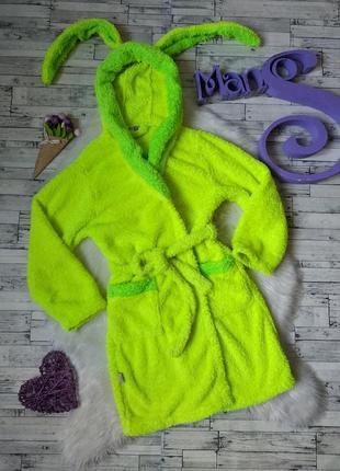 Махровый халат с ушками на девочку салатовый