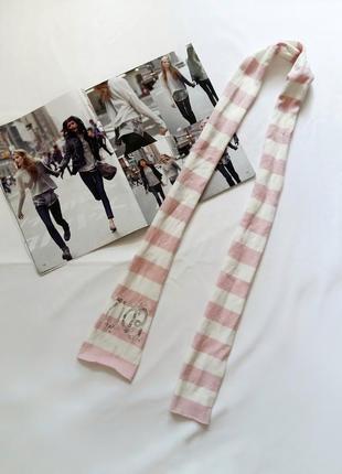 Розово-белый шарф в полоску benetton