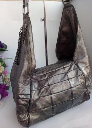 Шикарная обьемная серебристая кожаная сумка, натуральная кожа, kenneth cole new york