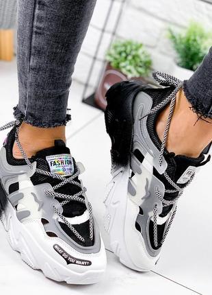 Новые женские черно-белые черные с белым кроссовки2 фото