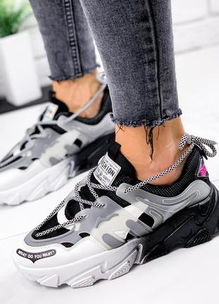 Новые женские черно-белые черные с белым кроссовки3 фото