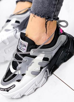 Новые женские черно-белые черные с белым кроссовки5 фото
