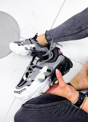 Новые женские черно-белые черные с белым кроссовки4 фото