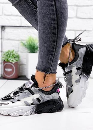Новые женские черно-белые черные с белым кроссовки6 фото
