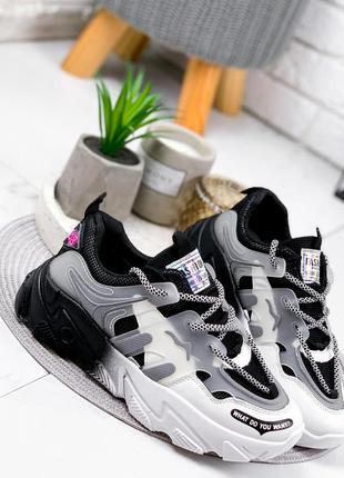 Новые женские черно-белые черные с белым кроссовки7 фото