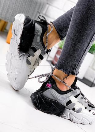 Новые женские черно-белые черные с белым кроссовки10 фото
